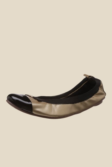 Catwalk Bronze & Black Flat Ballets