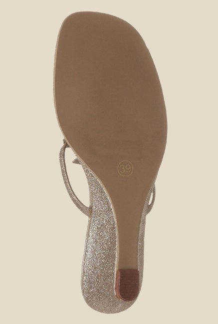 Catwalk Golden Wedge Heeled Thong Sandals
