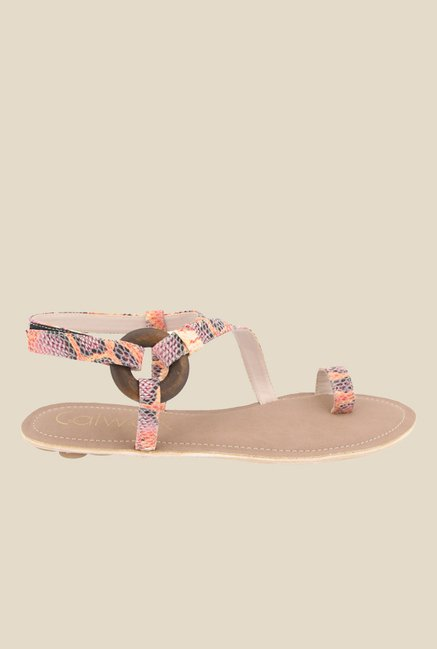 Catwalk Orange & Black Toe Ring Sandals