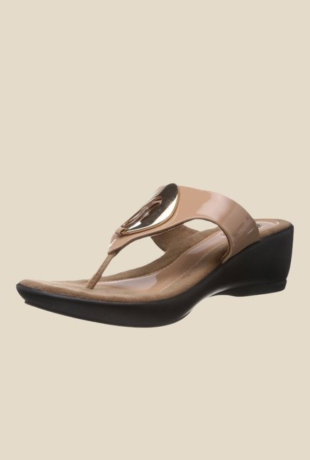 Catwalk Beige Wedge Heeled Thong Sandals