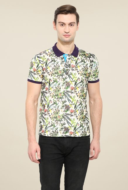 Duke Stardust Off White Tropical Print T Shirt