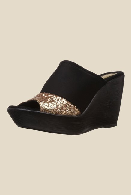Catwalk Black & Golden Wedge Heeled Sandals