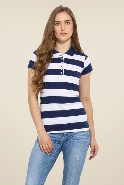Duke Stardust Navy & White Striped T Shirt