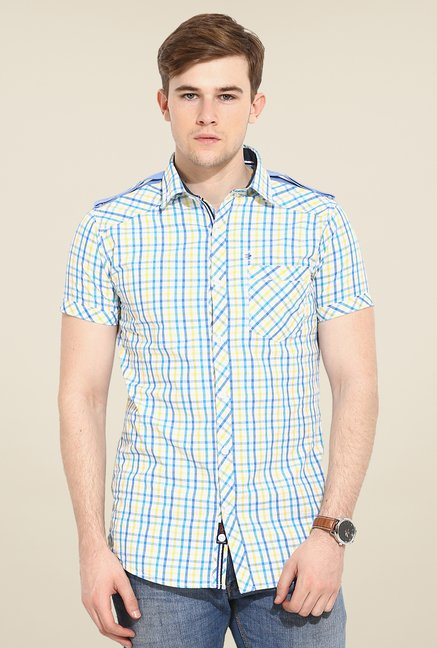 Duke Stardust Blue & Yellow Checks Shirt