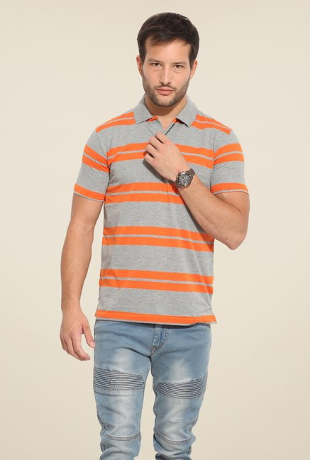 Duke Stardust Grey & Orange Striped T-shirt