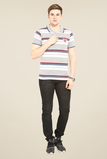Duke Stardust Grey & White Striped T-shirt