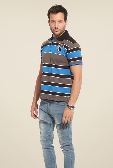 Duke Stardust Brown & Blue Striped T-shirt