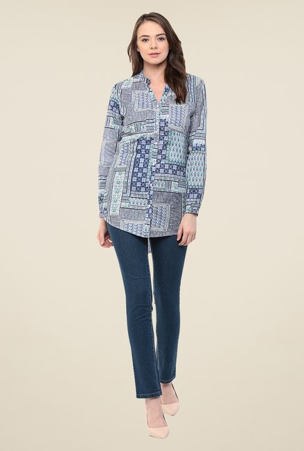 Yepme Blue Emery Longline Shirt