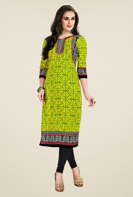 Salwar Studio Yellow Printed Unstitched Kurti