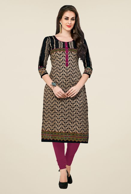 Salwar Studio Black Printed Unstitched Kurti