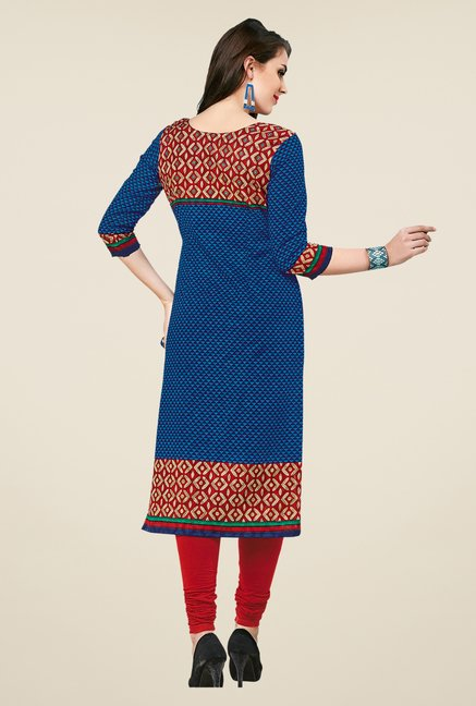 Salwar Studio Blue Printed Unstitched Kurti