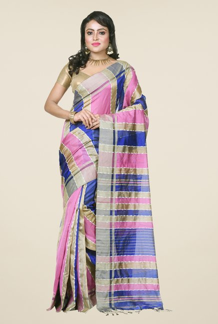 Bengal Handloom Blue & Pink Cotton Silk Saree