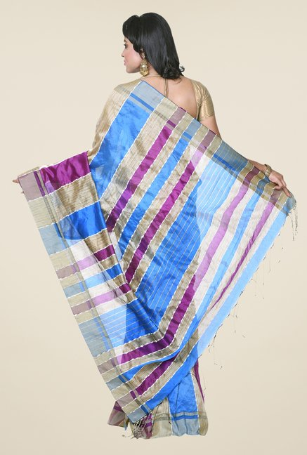 Bengal Handloom Blue & Purple Silk Saree