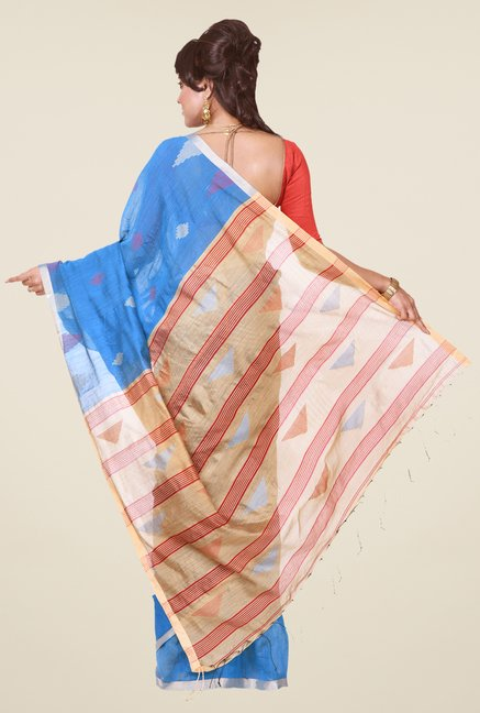 Bengal Handloom Blue & Beige Cotton Silk Saree