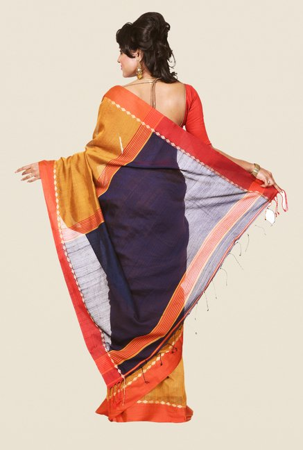Bengal Handloom Mustard & Navy Cotton Silk Saree