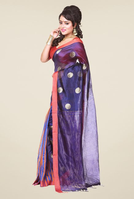 Bengal Handloom Purple & Blue Silk Saree