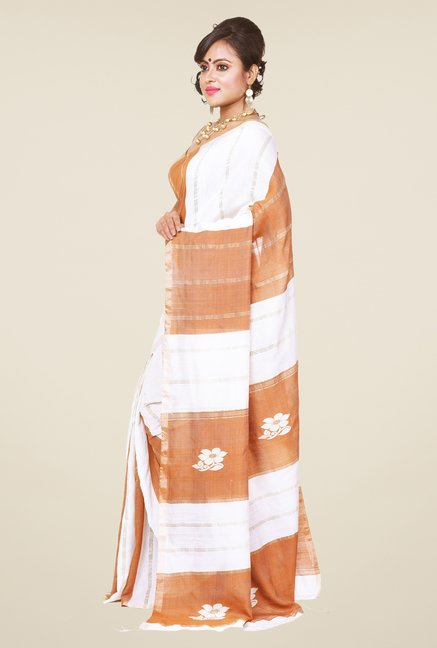 Bengal Handloom White & Brown Silk Saree