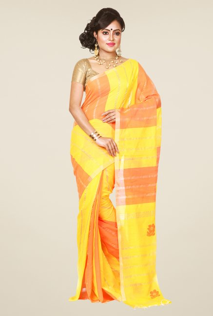 Bengal Handloom Yellow & Orange Silk Saree