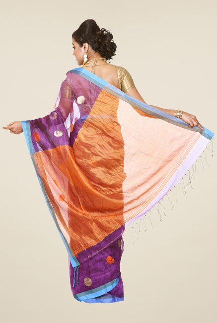 Bengal Handloom Purple & Orange Resham Silk Saree