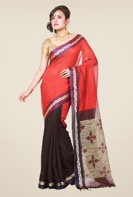 Bengal Handloom Red & Black Cotton Silk Saree
