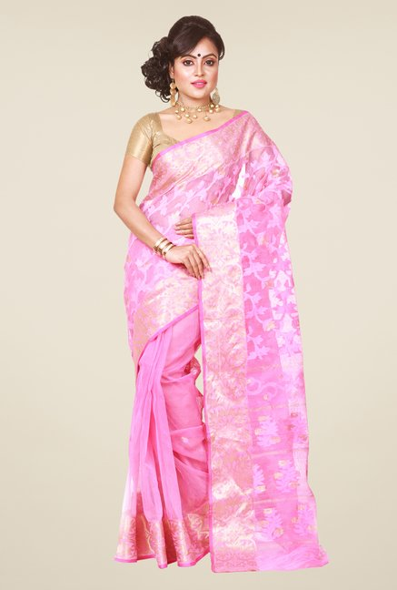 Bengal Handloom Pink Jamdani Cotton Silk Saree