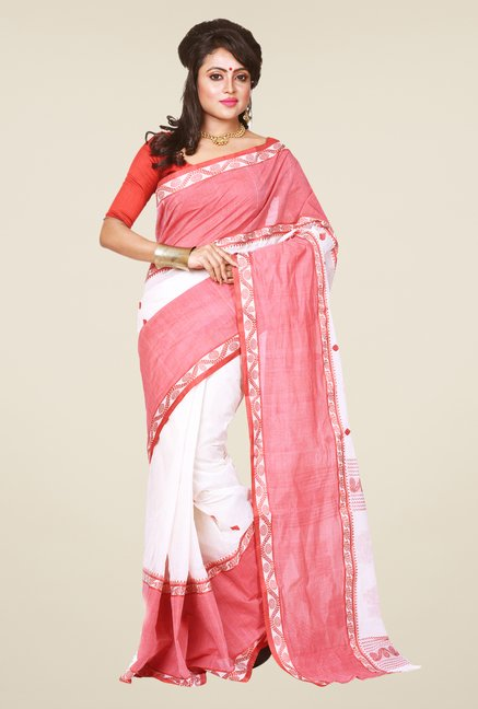 Bengal Handloom White & Red Cotton Saree