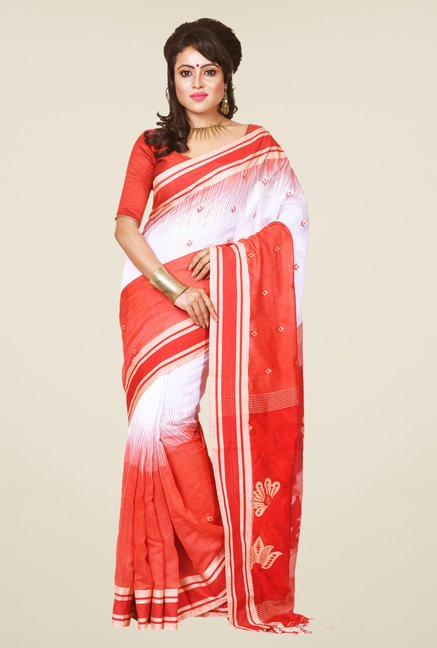 Bengal Handloom Red & White Cotton Silk Saree