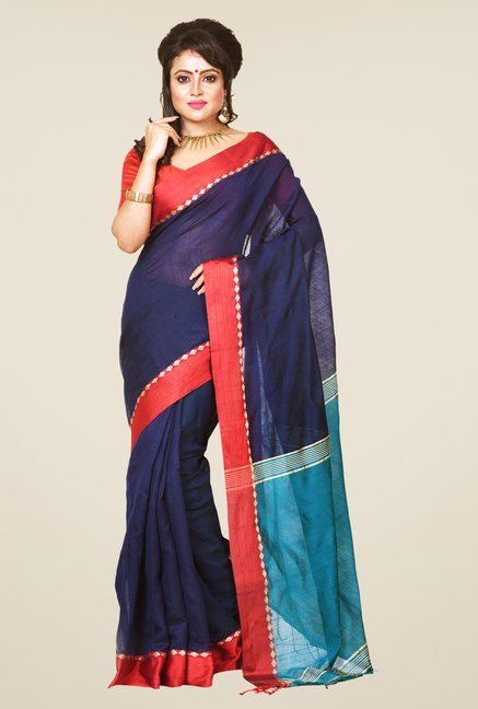 Bengal Handloom Navy Cotton Silk Saree