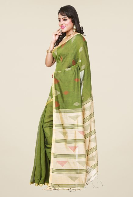 Bengal Handloom Olive Cotton Silk Saree