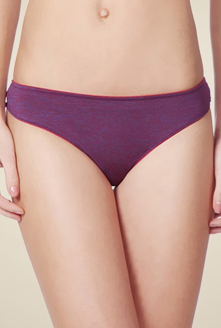 Amante Purple Solid Thong Panty