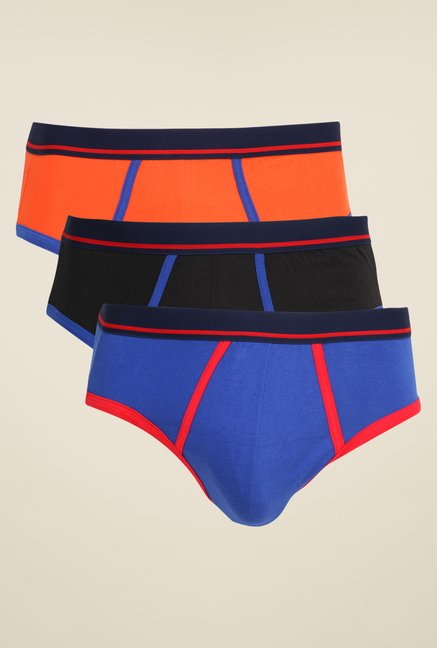 Yepme Orange, Black & Blue Traver Briefs (Pack Of 3)