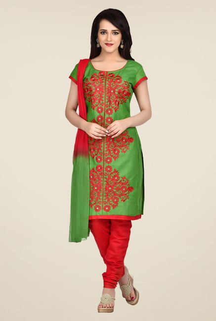 Shonaya Green & Red Embroidered Dress Material