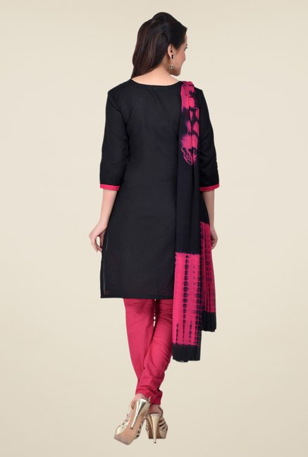 Shonaya Black & Pink Embroidered Dress Material