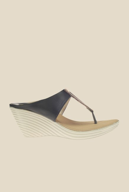 Khadim's Cleo Black & Golden T-Strap Wedges