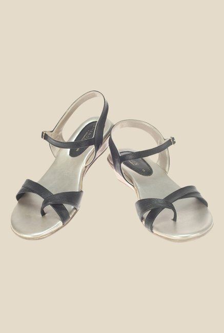 Khadim's Sharon Black Ankle Strap Wedges