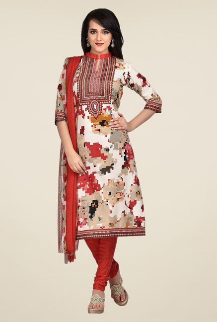 Shonaya Beige & Red Printed Dress Material