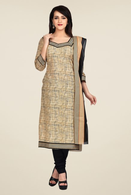 Shonaya Beige & Black Printed Dress Material