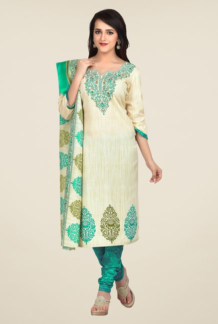 Shonaya Cream & Turquoise Printed Dress Material