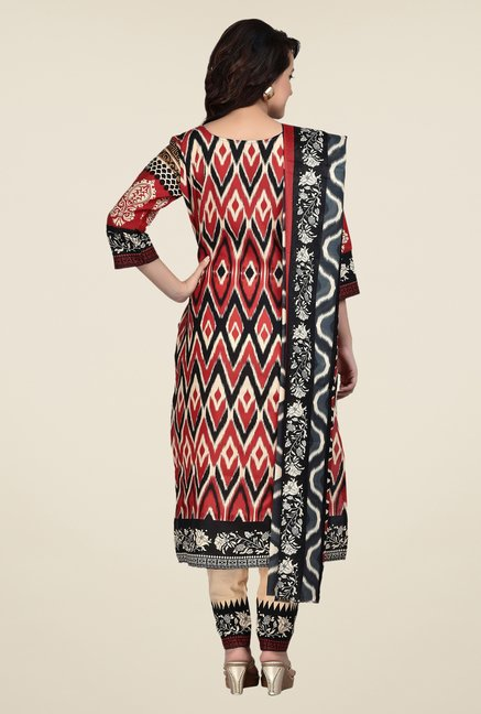 Shonaya Red & Beige Printed Dress Material