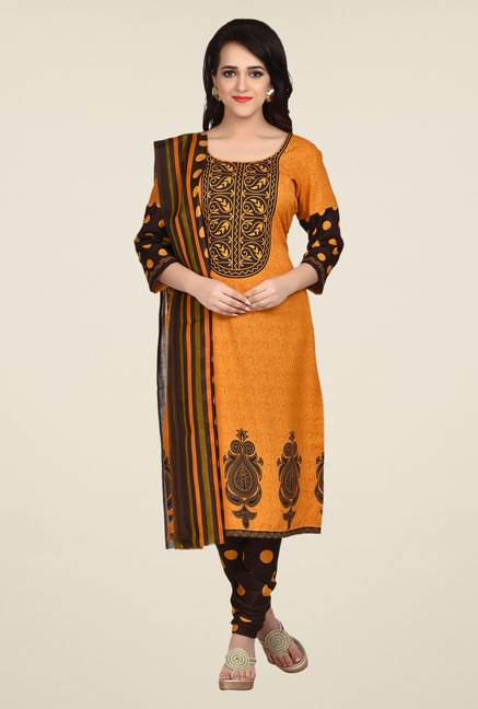 Shonaya Mustard & Brown Printed Dress Material