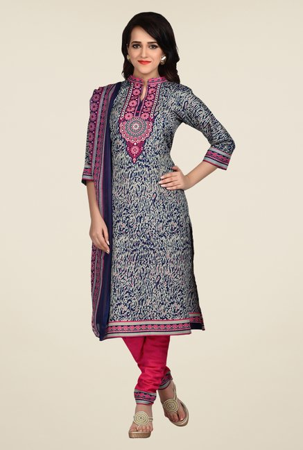 Shonaya Blue & Pink Printed Dress Material