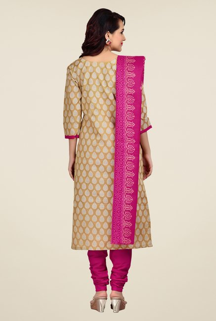 Shonaya Beige & Pink Printed Dress Material