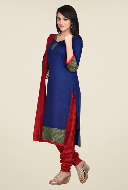 Shonaya Blue & Red Printed Dress Material