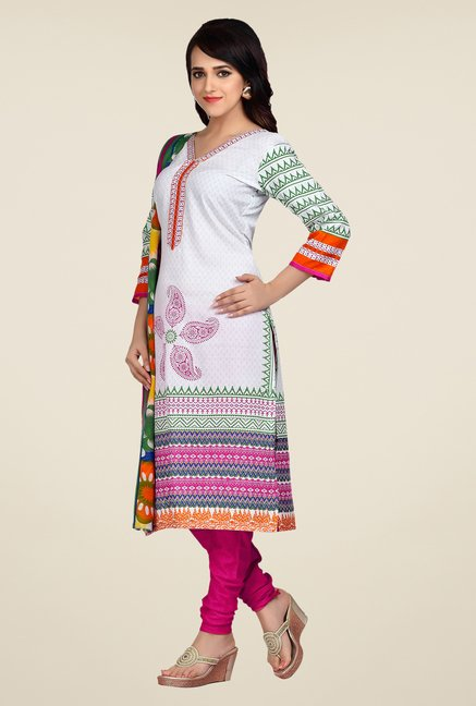 Shonaya White & Pink Printed Dress Material