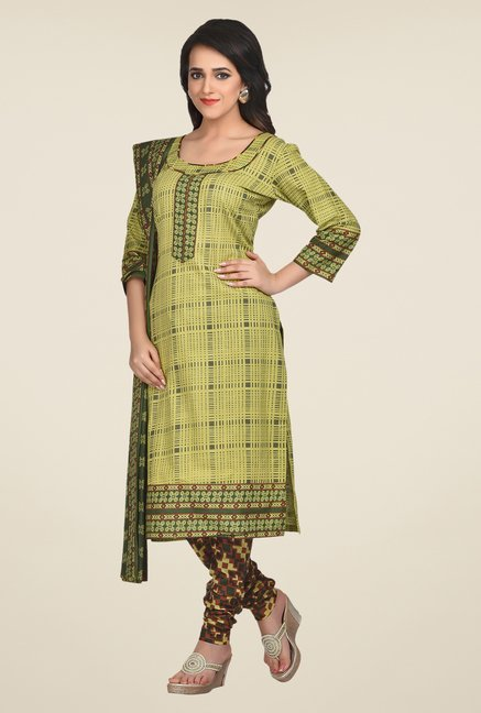 Shonaya Olive & Maroon Printed Dress Material