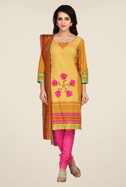 Shonaya Yellow & Pink Printed Dress Material