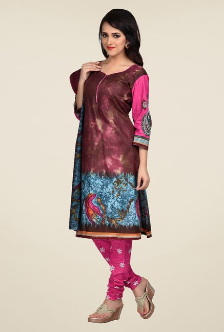 Shonaya Maroon & Pink Printed Dress Material