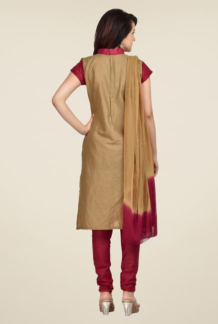 Shonaya Beige & Maroon Embroidered Dress Material