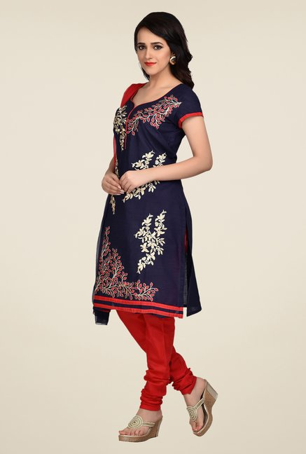 Shonaya Navy & Red Embroidered Dress Material