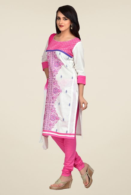 Shonaya White & Pink Embroidered Dress Material